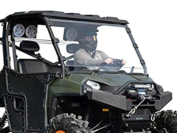 SuperATV Heavy Duty Clear Scratch Resistant Full Windshield for 2010-2016 Polaris Ranger XP 800/800 Crew / 800 6X6   1/4  Thick Polycarbonate 250X Stronger Than Glass   Easy Install   USA Made!