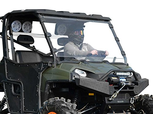 SuperATV Heavy Duty Clear Standard Windshield for Polaris Ranger Full Size 800/800 Crew / 6x6 (2010-2016) - Easy to Install!