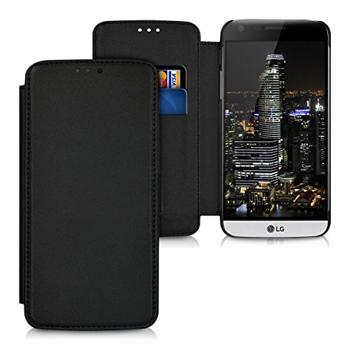 kwmobile Slim Wallet Hülle kompatibel mit LG G5 / G5 SE - Kunstleder Tasche Hülle Kartenfach Cover Schwarz
