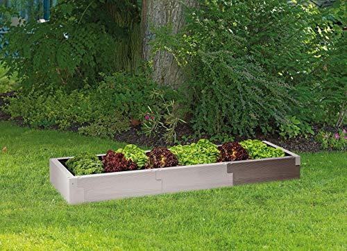Juwel Hochbeet Timber Erweiterungs-Set (2 Bausteine in Holzoptik, Vergrößern den Füllinhalt um 60 Liter, Beetsystem mit hoher Wärmeisolierung, Maße 60 cm, Höhe 20 cm, Gemüsebeet) 20477