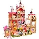 LADUO Casa de muñecas, con 49 Piezas de Accesorios para Muebles y Luces. Juguete de casa de muñecas Grande de 4 Pisos (Altura 102 * Longitud 93 * Ancho 63cm) para niñas de 3 a 6 años(4 Pisos)