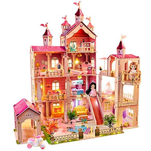LADUO Casa delle Bambole, con 49 Accessori per mobili e luci. Grande casa delle Bambole a 4 Piani (Altezza 102 x Lunghezza 93 x larghezzax 63 cm) per Ragazze di 3-6 Anni.