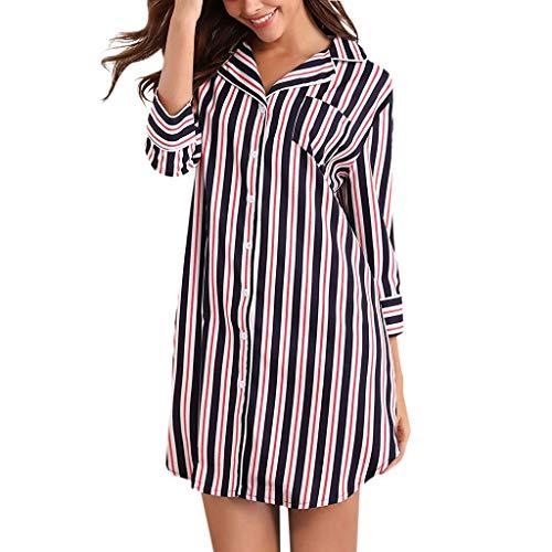 Kaister Chemise de Nuit en Coton Pyjama Chemise de Nuit rayée boutonnée en Coton