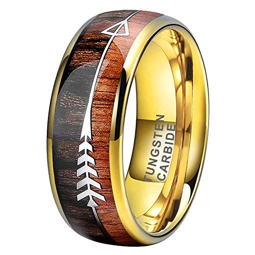 iTungsten 8mm 18K Yellow Gold Tungsten Rings for Mens Women Wedding Bands Koa Wood Arrow Inlay Domed Polished Shiny Comfort Fit