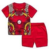 YANJJ Supporto per Il Robot da 2 Pezzi Set di T-Shirt per Bambini Set di Pantaloncini A Maniche Corte in Cotone Tessuto in Cotone Pigiama Adatto per Ragazzi di età Compresa tra 2-7 Red-5y/110CM