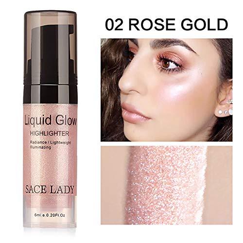 Beito 1 Pieza Brillo Líquido Resaltador Brillar Cara Maquillaje Contouring Iluminador corrector Bronceador Cosmético(02 oro rosa)