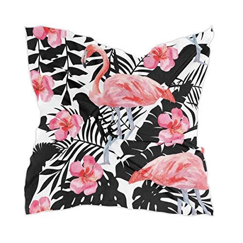 Ahomy Pañuelo cuadrado para mujer, diseño de flamenco, hibisco y loros, diseño de flores tropicales, con sensación de seda, 60 cm x 60 cm