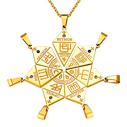 FaithHeart Collar Rompecabezas Puzzle 7 Piezas Colgantes Combinados Acero Inoxidable Dorado Sello de 7 Arcángeles Sigilo Religioso Talismán Protección Rombo