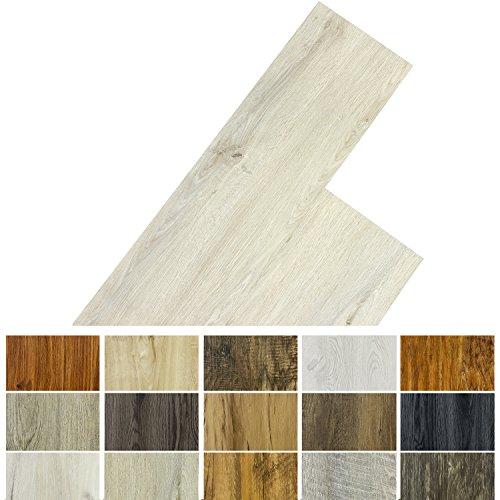 STILISTA Vinyl Laminat Dielen, 15 Dekors wählbar, 5,07m² oder 20m², rutschfest, wasserfest, schwer entflammbar - 20m² Eiche gewaschen weiß