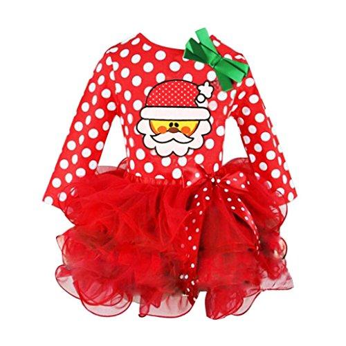 Hirolan Baby Weihnachten Kleidung Kinder Partykleider Tutu Kleider Festliche Mädchenkleider Kleinkind Santa Claus Cocktailkleider Knielang Punkte Drucken Spitze Cupcake Miniröcke Bowknot (Rot, 110)