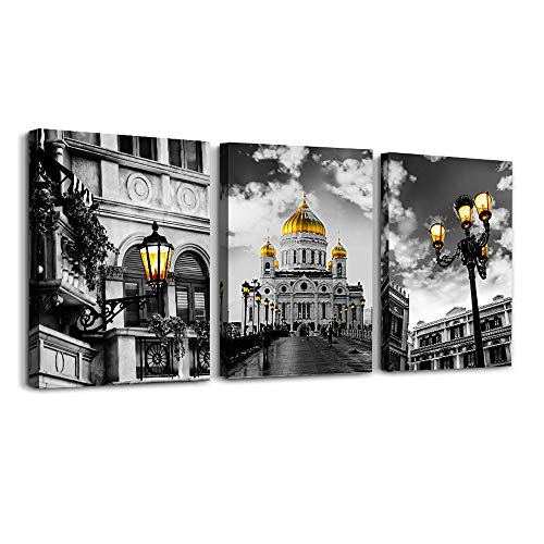 Black and white classical architecture view Canvas Wall Art for Living Room family Bedroom wall painting,Bathroom Wall Decor art kitchen Home Decoration office wall pictures artwork,16x12 3 piece set