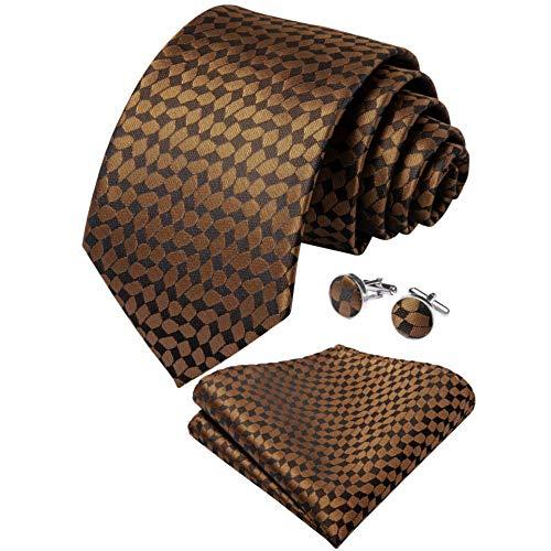 WOXHY Cravate Homme Brown Plaid Gift Soie Cravate Mouchoir Boutons De Manchette Neck Tie Business Wedding Party Tie Set