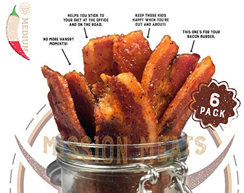 Delicious Uncured Real Bacon Jerky Hand Crafted Small Batch Kickin' Sriracha MSG Free Nitrate & Nitrite Free (Kickin' Sriracha, 6 pack)