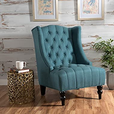 Clarice | Tall Wingback Fabric Accent Chair | | Perfect For Living Room | Dark Teal