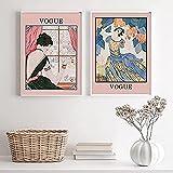 ZRRTERL Vintage Vogue Cover Revista Póster E Impresiones Moda Arte De La Pared Belleza Mujer Pintura En Lienzo Imágenes Retro Decoración De La Sala De Estar 40X60Cmx2 Sin Marco