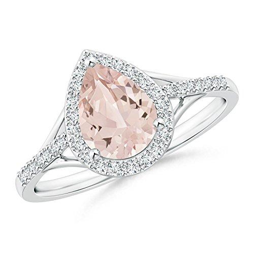 Angara.com  -  Platin 950  Platin Tropfenschliff   Pfirsich Diamant Morganite
