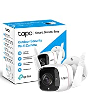 TP-Link Tapo Outdoor Security Camera/CCTV, Weatherproof, No Hub Required, Works with Alexa&Google Home, 3MP High Definition, Built-in Siren with Night Vision, 2-way Audio, SD Storage(Tapo C310)