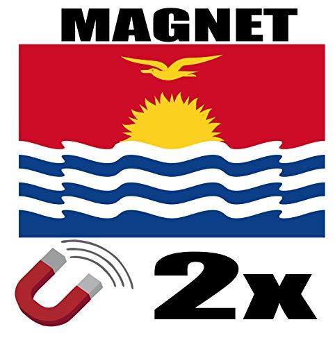 SAFIRMES 2 x Kiribati-Flagge, magnetisch, 6 x 3 cm, Kühlschrankmagnet, Kiribati