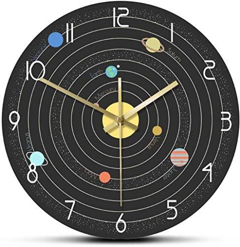 Reloj de pared grande Silencioso Sin tictac Sistema solar reloj de pared moderno pared astronómica en el espacio educación posición del planeta reloj de pared mudo regalo de astronauta para cocina S