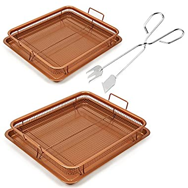 Copper Chef Copper Crisper 2 Pack with Tongs