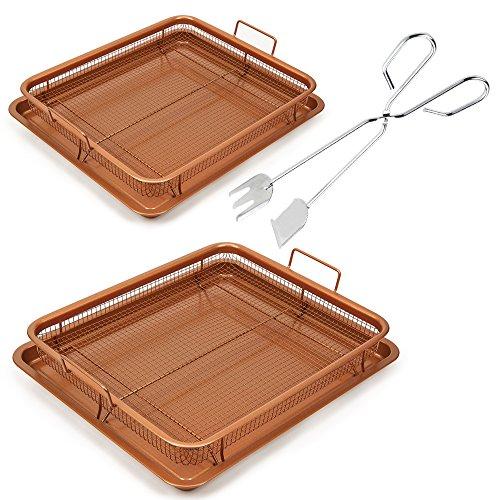 Copper Chef Copper Crisper 2 Pack with Tongs