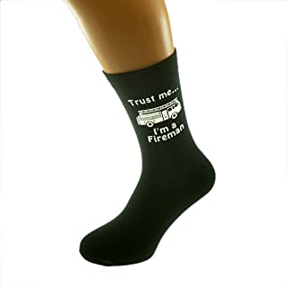 Trust me I'm a Fireman and Fire Engine Image Printed on Black Mens Cotton Rich Socks