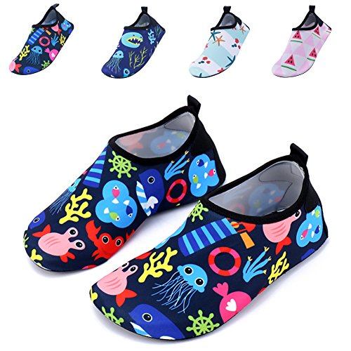 JIASUQI Toddlers Outdoor Athletic Slip on Water Shoes for Swim River Black Green US 6-7 M Toddler