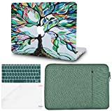 KECC Laptop Case for MacBook Pro 13' (2020/2019/2018/2017/2016, Touch Bar) w/Keyboard Cover + Sleeve + Screen Protector (4 in 1 Bundle) Hard Shell A2159/A1989/A1706/A1708 (Colorful Tree)