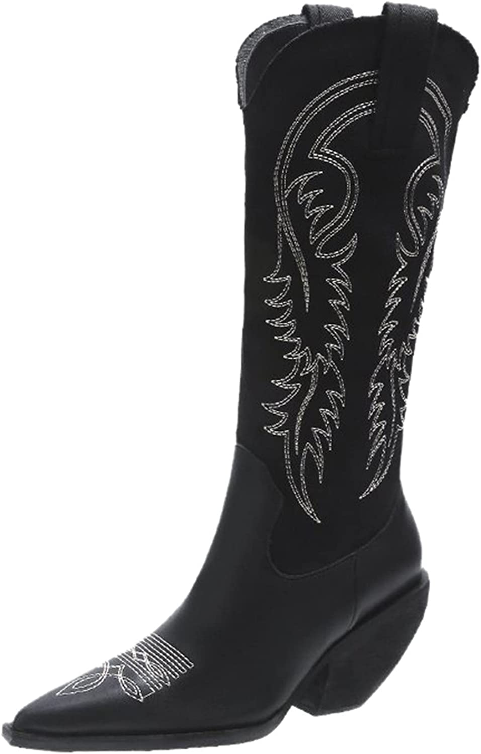 Yuekarel Sexy Thigh High Boots Fashion Mid Calf Boots Embroidere