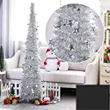 Yugust Artificial Christmas Tree, Red Glittery Tinsel Christmas Tree, 4Ft Collapsible Xmas Trees with Plump Sequin for Holiday Decor - Easy to Assemble (Silver)