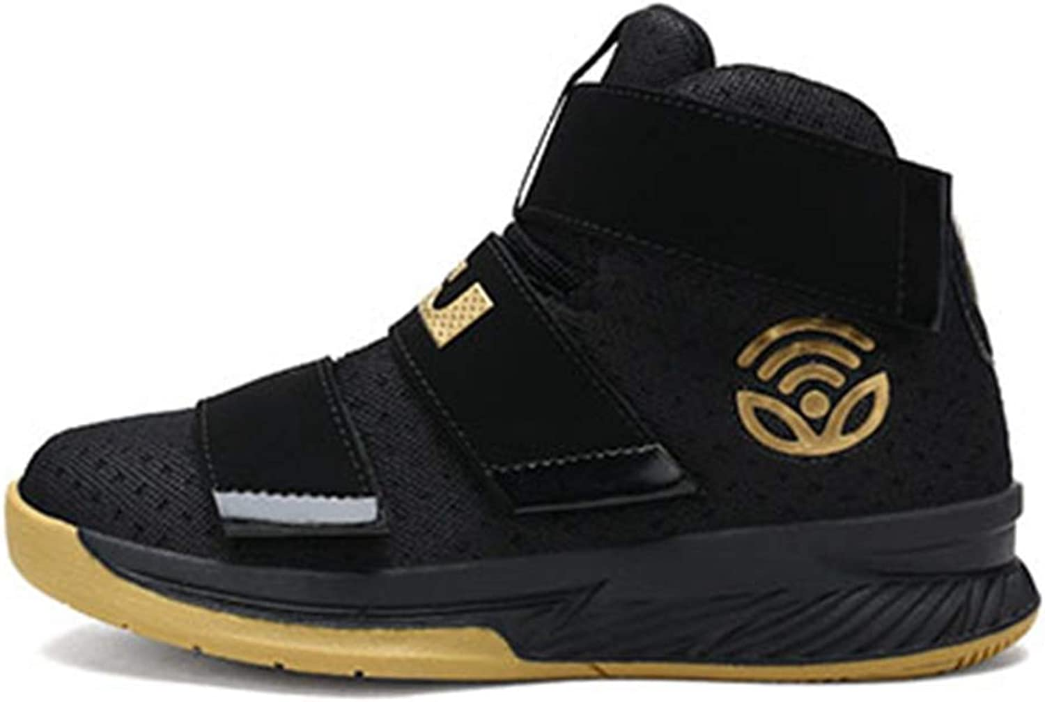 ZHRUI Men Basketball shoes High Top Sport Air Mesh Breathable Cushion Sneakers Outdoor Athletic Ankle Male Boots Trainers (color   Black gold, Size   7=41 EU)