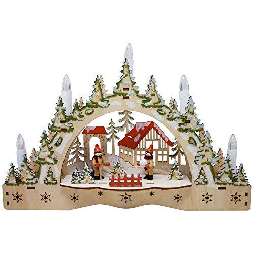 ToCi beleuchteter Schwibbogen Kerzenbogen Lichterbogen mit 5 LED-Kerzen und weihnachtlichem Motiv zur Weihnachts-Dekoration, Fensterdekoration und Tischdekoration
