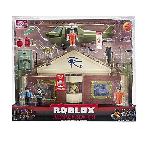 Roblox ROB0259 Deluxe Spielset Museumsraub, Spielhaus Museum mit 33 Teilen, 6 Spielfiguren, Actionfiguren mit Zubehör und Hubschrauber, Original Figuren Set für Kinder ab 6 Jahren