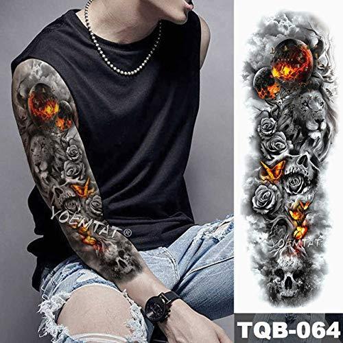 Tatuaje de brazo grande japonés León manga impermeable tatuaje apliques cráneo animal esperanza hombre mujer tatuaje completo tótem de ida y vuelta
