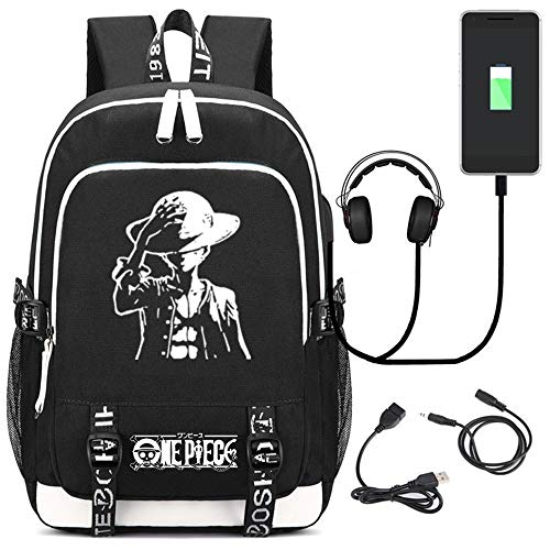 Siawasey Anime One Piece Cosplay Chopper Luffy Backpack Daypack Bookbag Laptop School Bag with USB Charging Port