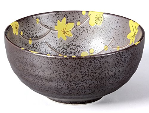 Aricola® Matcha Schale/Matcha Teeschale 250ml anthrazit/gelb, Blütendesign, gesprenkelt.
