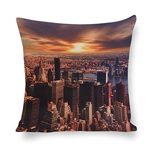 N/ A Fundas de almohada decorativas paisaje moderno de la ciudad atardecer edificio bloque de la sociedad impresión de lino fundas de cojín fundas de almohada para sofá de 16 x 16 pulgadas l7boolobcweg