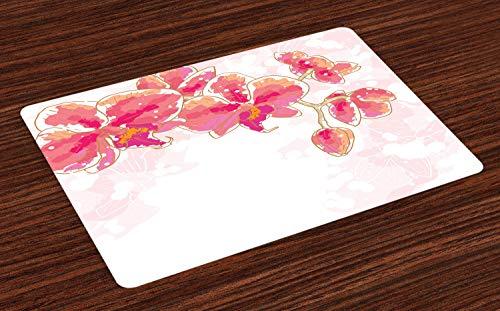 ABAKUHAUS Blumen Platzmatten, Kontur, die Orchideen-Blume tropisches Brautblumenstrauß-Blüten-Aquarell-Kunst-Design zeichnet, Tiscjdeco aus Farbfesten Stoff für das Esszimmer und Küch, Mehrfarbig