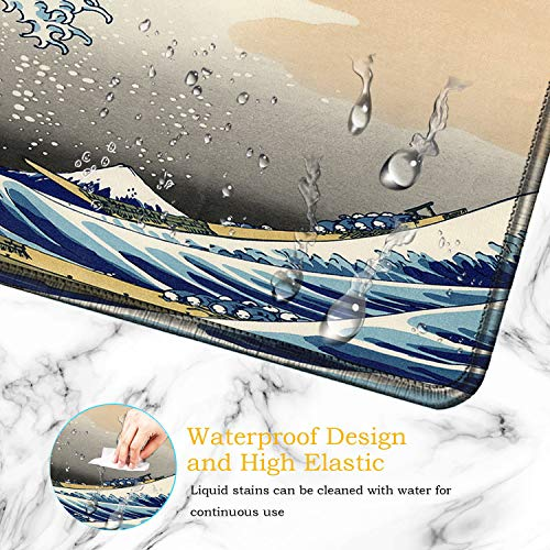 Desk Pad-Large Gaming Mouse Pad with Stitched Edges, Extended Computer Mouse Pad Water-Resistant Writing Pads with Non-Slip Rubber Base 31.5 x 11.8 in,with Coasters(Japanese Kanagawa Great Heavy Wave) Photo #3