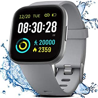 Smart Watch, Fitness Tracker with IP68 Waterproof Touch Screen Watches, Blood Pressure Heart Rate Monitor with Running Pedometer Step Counter Sleep Tracker for Women Men with iPhone & Android