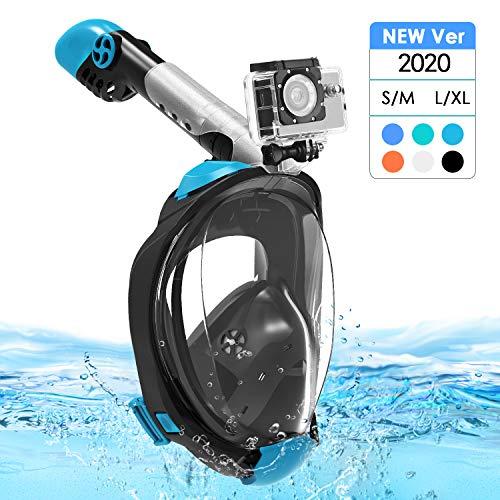 Máscara de Buceo, 180 ° Panorámica Máscara Snorkel Máscara para Buceo Anti-vaho Anti-Fuga Esnórquel Gear con Tapones para los oídos Impermeables, Soporte Cámara Easy Breathe para Adultos