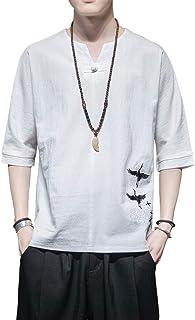 FOCU 夏服 メンズ 七分袖 リネンTシャツ Tシャツ 麻のシャツ メンズ Vネック 薄手 無地 部屋着 シンプル カジュアル