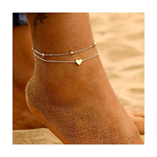 Cute Ankle Bracelets for Women Silver Gold Anklet Dolphin Heart Beaded Anklet Dainty Chain Anklet Beach Bracelets Anklets Friendship Foot Jewelry (B:Gold Heart)