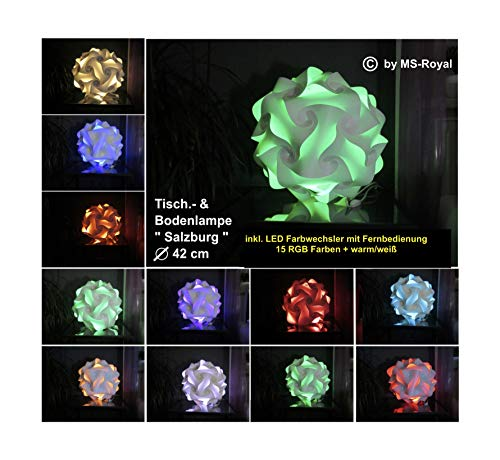 """Bodenlampe Tischlampe Kugellampe """" Salzburg """" Größe 42 cm, inkl. 15 RGB Farben LED Farbwechsler + warm/weiß, im Retro Stil der 70er/80er Jahre"""