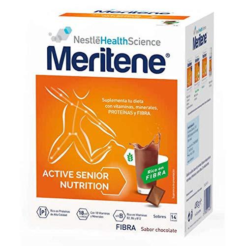 Meritene® FUERZA Y VITALIDAD - Suplementa tu nutrición y refuerza tu sistema inmune con vitaminas, minerales y proteínas - FIBRA Batido Chocolate - Estuche (14x35g)