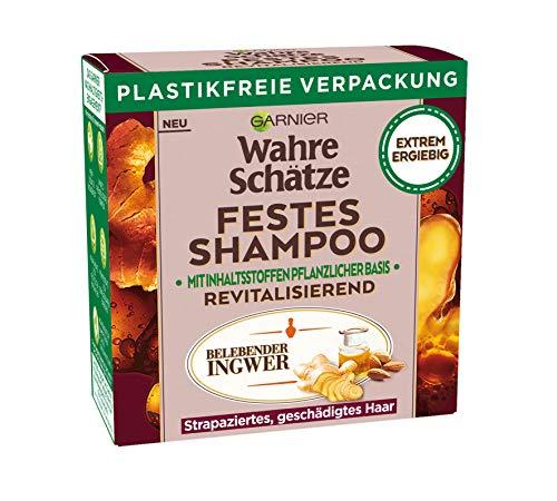Garnier Wahre Schätze, Festes Shampoo Belebender Ingwer, mit Bio-Ingwer, revitalisiert strapaziertes Haar, biologische abbaubare Formel, vegan, 1 Stück
