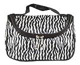 Bolsa de cosméticos, bolsa de cosméticos de viaje multifunción Bolsa de maquillaje a rayas de cebra Bolsa de aseo negro + blanco