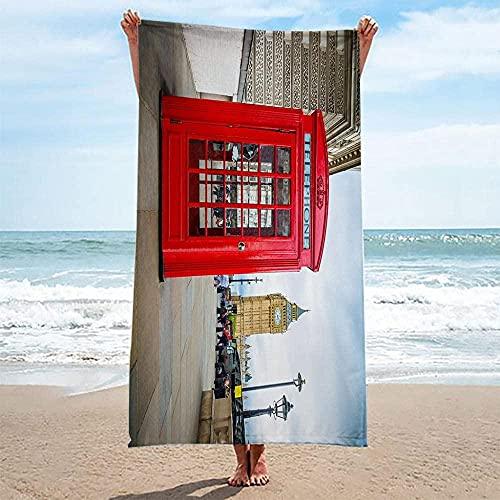 Toalla De Playa Toallas Baño,Cabina De Teléfono Roja Toalla Sin Arena De Microfibra Secado Rápido Ligero Acampar Viajes Playa Natación 80X160 Cm