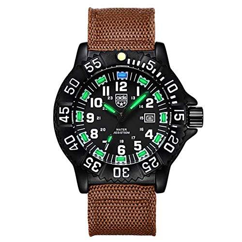 Wan&ya Reloj analógico de Cuarzo para Hombre Correa de Nailon 50M Cronómetro Luminoso Resistente al Agua Brújula Dial Giratorio Reloj de Negocios Relojes Deportivos Militares Digitales,Brown a