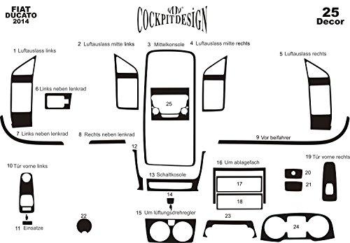 MERIC Cockpit Dekor (CD-WU00131) Exclusive 3D Ausführung, 25 Teile, Farbe: Wurzelholz